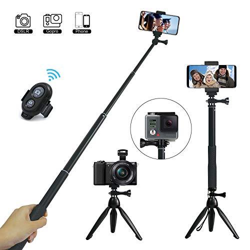 Perche Selfie, JPARR 3 en 1 Extensible Selfie Stick Trépied avec Détachable Télécommande Sans Fil, Monopode et Support Téléphone pour Gopro/ DSLR/ iPhone/ Samsung / Huawei et Autres Smartphones
