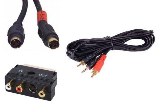 10m vom PC zum Fernseher Kit ~ hohe Qualität ~ 3,5 mm auf Doppel-RCA / Cinch ~ SVHS (S-Video/TV-Ausgang) ~ Scart-Adapter (21-pin vollständig verdrahtet) ~ audio & video führen ~ Laptop oder PC an Monitor oder Fernseher (LCD, Plasma, LED) ~ 24k gol Cinch-adapter-kit