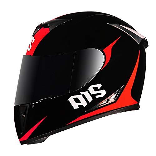 SRUN Casco Moto Casco Integrale Unisex Casco Moto Doppio Omologo ATO Doppio Cromato con omologazione D.O.T, (M, L, XL, XXL),L