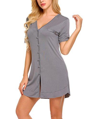 Avidlove Damen Viktorianisch Nachthemd T-shirt Luxus Nachtwäsche- Gr. S, Kurzarm 4: Dunkelgrau