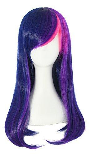 MapofBeauty 60cm/ 24 Pouce Longue Droit Femmes Droit Perruques (Sombre Bleu/Violet/Rose)