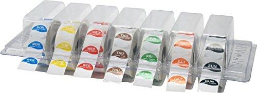 DayMark grande 25mm días de la semana etiquetas de los alimentos, de día puntos en claro dispensador | alimentos rotación 1000etiquetas por día 7días
