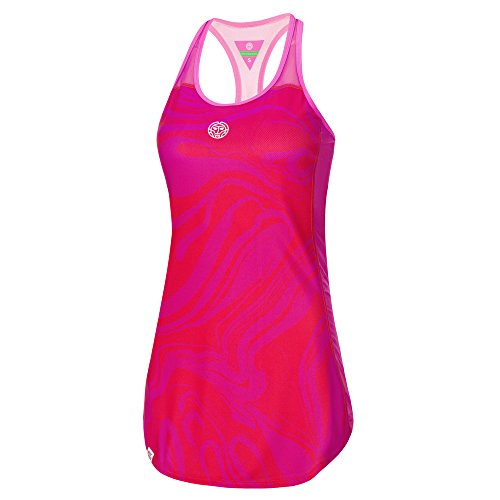 BIDI BADU Damen Tennis Kleid - Saira Tech Dress (3 in 1) - red/pink (FA18), Größe:L -