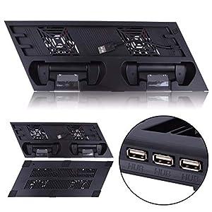 PS4 Pro Vertikaler Ständer mit Kühlventilator Dual Controller Ladestation für Sony PS4 Pro Spielkonsole 4 mit extra USB…
