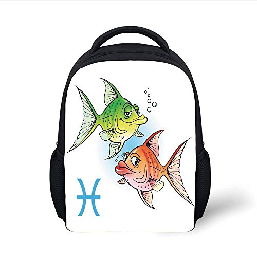 Kids School Backpack Astrology,Pisces Symbols with Pretty Love Couple Fish Nemo Birthday Romance Home Decor Decorative,Green Orange Plain Bookbag Travel Daypack