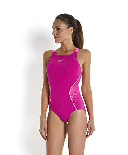 Speedo Damen Badeanzug Fit Pinnacle Xback Magenta/Fluo Pink/Global Gold