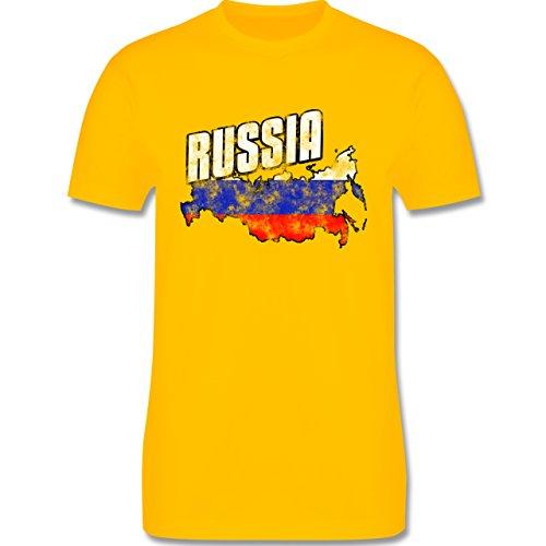 EM 2016 - Frankreich - Russia Umriss Vintage - Herren Premium T-Shirt Gelb