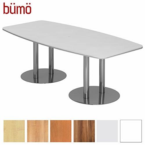 BÜMÖ Konferenztisch rund oval 220 x 103 cm in Weiß | Besprechungstisch mit Chromsäulen | Hochwertiger Meetingtisch