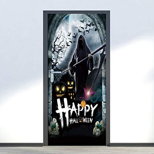 Tür Wandaufkleber Happy Halloween 3D Wallpaper für Schlafzimmer Wohnkultur Poster PVC Wasserdichte Nachahmung Abziehbilder 77x200 cm (De Halloween 3d Wallpaper)