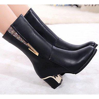 Rtry Femmes Chaussures Pu Automne Hiver Mode Bottes Bottes Pour Casual Noir Bourgogne Us6 / Eu36 / Uk4 / Cn36
