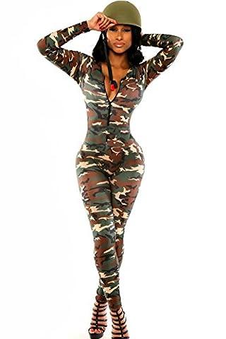 Sexy Damen Armee Soldier Front Zipper V-Ausschnitt Catsuit Jumpsuits (M, as shown)