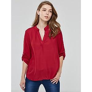 Unbekannt ZLL Damen Solide Übergröße Arbeit T-Shirt,V-Ausschnitt Sommer Langarm Blau/Rot/Weiß/Schwarz/Grau/Orange Acryl/Polyester Dünn, 4XL