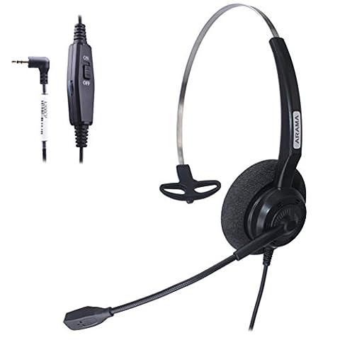 Arama Casque audio Mono avec annulation de bruit Mic Volume Mut E pour Cisco Linksys SPA Polycom Panasonic Zultys Gigaset Grandstream Office IP et téléphones sans fil Dect avec prise de 2,5 mm (A200CP)