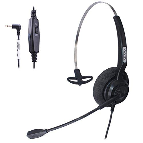 Arama Kabelgebundenes Headset Mono mit geräuscheliminierendem Mikrofon Volumen Dämpfer für Cisco Linksys SPA Polycom Panasonic zultys Gigaset Grandstream Büro-IP- und schnurlose DECT Telefone mit 2,5mm Klinkenstecker (a200cp)