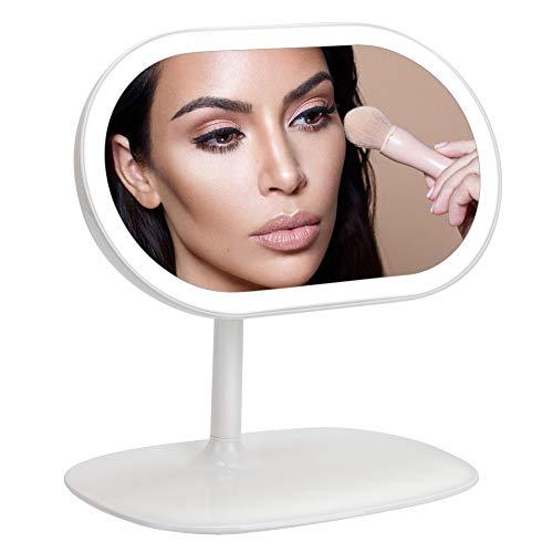 Specchio per trucco illuminato, manli 2-in-1 specchio con luce make up ricaricabile lampada da tavolo specchio da trucco con luci led lampada da scrivania bagno camera da letto, luce bianco freddo