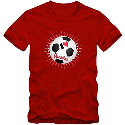 Österreich EM 2016 #6 T-Shirt   Fußball   Herren   Trikot   Nationalmannschaft © Shirt Happenz Rot (Red L190)
