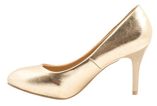 Elara Damen Pumps   Stiletto High Heels   Abendschuh Metallic Or - Doré