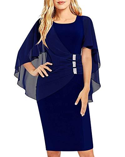 SOLERSUN Kleider Frauen Sommer, Womens Chiffon Plus Size Rüschen Schmeichelhaft Cape Sleeve Formelle Bodycon Cocktail Party Kleid Navy Blau XL -