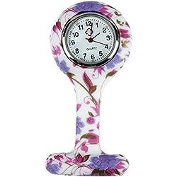 SODIAL(R) Mode Stil Krankenschwester Silikon Runde Zifferblatt Quarz Taschenuhren Quarz Taschenuhr Weihnachten Geschenk Blumen Rebe