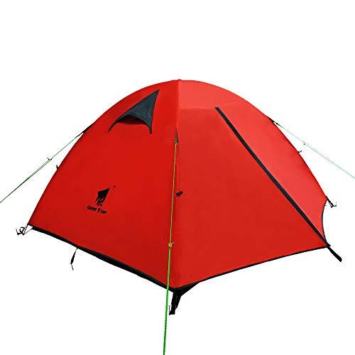 GEERTOP Tienda iglú de Campaña Impermeable Ligera 3 Personas 3 Estaciones - 180 x 210 x 120 cm (2,5kg) - UV Resistente para Acampar Excursionismo y Turismo (Rojo Naranja)