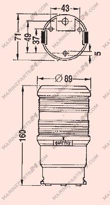 Aqua Signal Series 40 Quickfit Topplicht, dreifarbig, schwarzes Gehäuse
