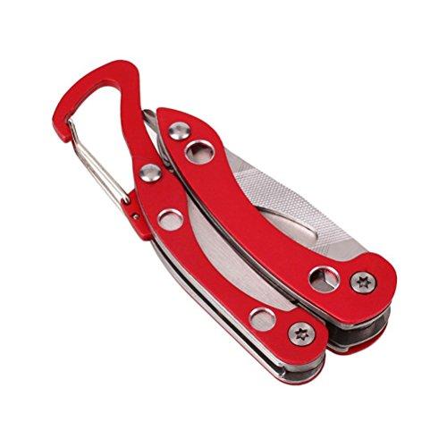 bestomz Multifunktionszange 13in 1Messer Notebook Mehrzweck-Schlüsselanhänger klappbar aus Edelstahl (Pink)