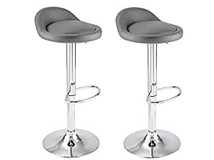 tabouret de bar gris x 2 venus cuisine maison. Black Bedroom Furniture Sets. Home Design Ideas