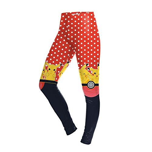 WHFDDDK Pokemon Damen Leggings schlank schlank füße Hosen Mode Yoga Hosen atmungsaktiv und schnell trocken einfach und bequem