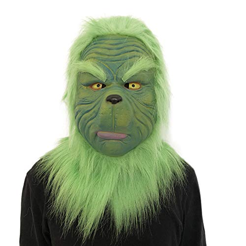 Cooljun Cosplay Grinch Mask Deluxe Latex Grün Full Head Grinch Stola Weihnachten CL Mask Kostüm Sammlerstück Prop Scary Mask Spielzeug (A)