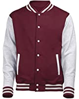 VARSITY COLLEGE JACKET (Burgundy/Heather Grey) NEW PREMIUM Unisex American Style Letterman Blank Baseball Custom Top Mens Womens Ladies Gift Present Quality AWD - By 123t