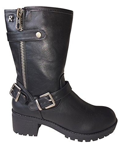 Refresh Donna Stivali Bikerboot Ankle Boot Nero