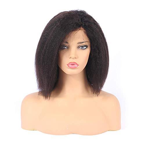 WIGIRLS Brazilian Yaki Straight Hair Wigs Human Hair Kinky Straight Virgin Hair Unprocessed Virgin Brazilian Hair 13 * 5 Lace Front Wig with Baby Hair for Black Women 180% Density,8INCH (Remi Front Lace Perücken)
