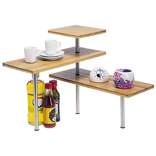 Arbeitsplatte Regal (bremermann Bambus-Eckregal, Küchenregal, Material aus Bambusholz und rostfreiem Edelstahl)