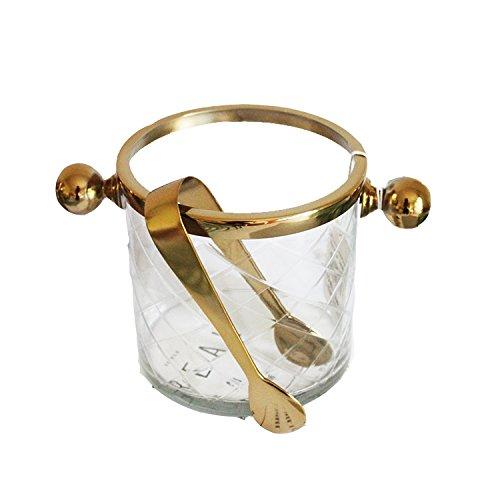 WUTONGHandgemachte Goldlegierung transparentes Glas Wein Champagner EIS Eimer Luxus Retro-Ornamente Nordic European (Luxus-eis-eimer)