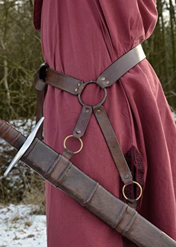 Mittelalter Schwertgürtel aus braunem Leder – Mittelalter Schwerthalter mit Gürtel von Battle-Merchant - 2