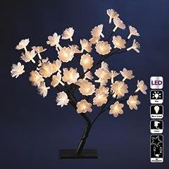 Idea Regalo - Decorazioni natalizie - Albero con fiori luminosi in fibra ottica 48 LED bianco caldo - Altezza 50 cm