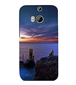 printtech Scenic Ocean Sunset Back Case Cover for HTC One M8::HTC M8