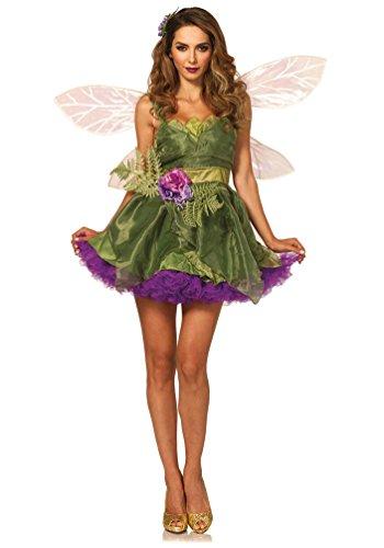 Karneval-Klamotten Waldfee Kostüm Damen Luxus Fee-n-Kostüm sexy mit Blumen-Gürtel und Haarklammer Märchen Karneval Damen-Kostüm Größe 38/40