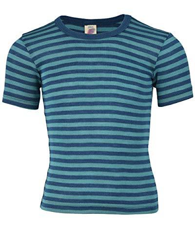 Kinder-Unterhemd, kurzarm - light ocean/eisvogel (9:9) - 104 - Shirts Seide Herren Kurzarm