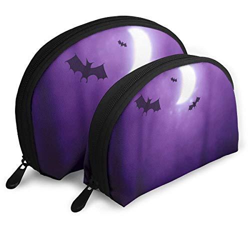 Happy Halloween Bats Pattern Womens Reisen Makeup Bag Shell Kosmetiktaschen - 2er Pack