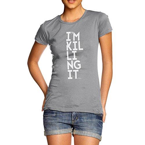 TWISTED ENVY Damen T-Shirt I'm Killing It Print Grau