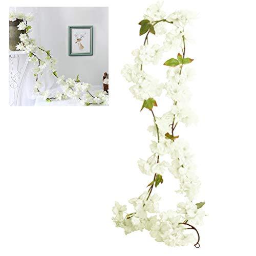 Ysoom 180cm Künstliche Girlande Vines Kirschblüten Blume Hängend Sakura Rattan Dekor Girlande Floriation Home Garten Weihnachten Hochzeit Party Hochzeit Dekor 2 Stück (Weihnachten Garten Dekor)