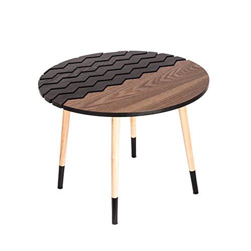 THE HOME DECO FACTORY HD3828 Table Ronde Bois Marron-Noir 75 x 45, 50 cm