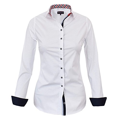 HEVENTON Bluse Damen Langarm in Weiß von Hemdbluse - Größe 36 bis 50 - Elegant und Hochwertig 1178 Color Weiß, Size 40