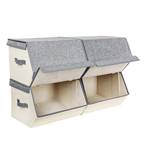 SONGMICS 4er Set Aufbewahrungsboxen mit magnetischem Klappdeckel, stapelbare Stoffboxen mit Metallrahmen und seitlichen Griffen, für Accessoires, Spielzeug, Kleidung, 38 x 25 x 26,5 35 cm RLB04GE