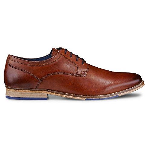 Cox Herren Derby Schnürschuh Aus Leder, Braune Business Schuhe mit Ziernähten Braun Glattleder 45