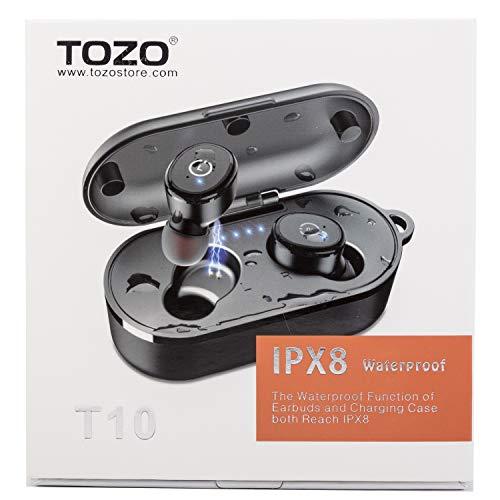 TOZO T10 TWS Écouteurs stéréo sans Fil Bluetooth 5.0 avec étui de Chargement sans Fil intégré et Micro intégré Son de qualité avec Basses Profondes pour la Course à Pied et Le Sport