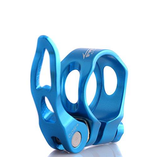 Upanbike Fahrradsattelstützen-Klemme aus Aluminiumlegierung, hohler Schnellspanner, 31,8mm, 34,9mm, runder Clip, blau, 31,8 mm -