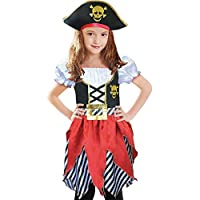 Girls Pirate Costume Pirate Buccanner Princess Deluxe Dress&Pirate Hat for Kids Size 5-6,7-8,9-10