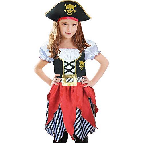 Piratenkostüm für Mädchen, Piraten-Motiv, Prinzessin, Deluxe-Kleid und Piratenhut für Kinder, Größe 5-6, 7-8, 9-10